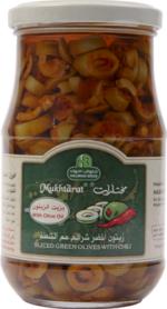 Mukhtarat Sliced Green Olives with Chili